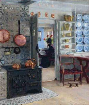 Interior kitchen scene with a woman reading the paper by Adolf Heinrich Claus Hansen